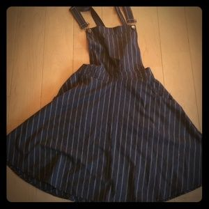 Grey pinstripe overall jumper